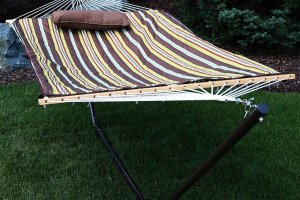 then you ought to consider getting yourself a sunnydaze desert stripe cotton rope hammock with 12 foot steel stand  sunnydaze desert stripe cotton rope hammock with 12 foot steel      rh   thehammockexpert